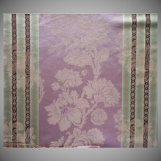 Vintage Fabric Sample French Linen Cotton Damask Stripe Upholstery