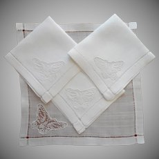 1920s Tea Napkins Rice Linen Filet Lace Butterflies Inserts Vintage TLC