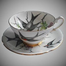 Swallows Birds Vintage Stanley English Bone China Tea Cup Saucer