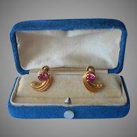 Gold Filled Earrings Pink Rhinestones Vintage Screw Back