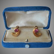 Gold Filled Earrings Pink Rhinestones Vintage Screw Back