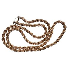 Gold Filled Thick Rope Twist Chain Necklace Vintage 18 Inch