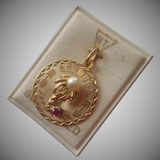 Bermuda Gold Filled Charm On Card Vintage Pink Stone Faux Pearl