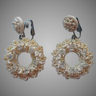 Featherweight Featherlight Earrings Dangle Clip Vintage Plastic Rhinestones Flowers