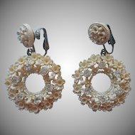 Featherweight Featherlight Earrings Dangle Clip Vintage Plastic Rhinestones Flowers