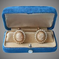 Shell Cameo Earrings Vintage Screw Back Faux Pearls