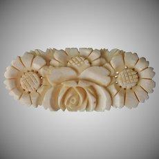 1930s Carved Bone Big Pin Vintage Rose Daisies