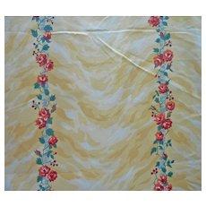 Vintage Fabric Sample 1980s Schumacher Cotton Yellow Moire Stripe Print