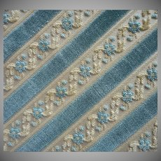 Vintage Fabric Sample 50s Belgium Cut Velvet Stripe Blue Straw Upholstery