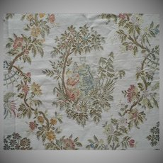 Vintage Fabric Sample 50s Chinoiserie Brocade Upholstery