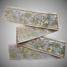 Vintage Fabric Sample Italian Trim Cut Velvet Ribbon Style Upholstery
