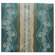 Vintage Fabric Sample Silk Cotton Brocade Stripe Upholstery