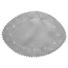 Antique Cutwork Oval Tray Doily Linen Hand Embroidered