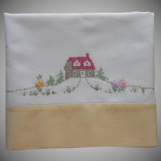 Vintage Pillowcase Hand Embroidered Cottage House Flowers Cotton