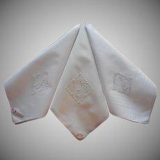 Monogram J Men's Handkerchiefs Vintage 3 Hankies Unused Labels