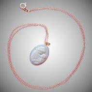 14K Gold Porcelain Cameo Mother Child Pendant Necklace Blue White