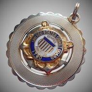 Coast Guard Charm Large Vintage Gold Filled Enamel
