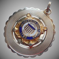 Coast Guard Charm Large Vintage Gold Filled Enamel