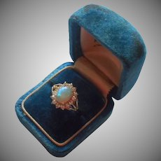 Vintage Ring Faux Opal Espo Gold Plated Fashion 5