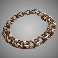 Charm Bracelet Vintage Antiqued Finish Gold Filled Double Links