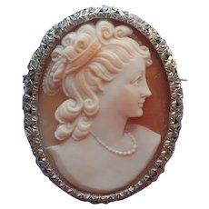 Vintage Italian Shell Cameo Pin 800 Silver Deep Filigree Frame