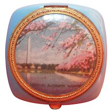 Cherry Blossoms Washington D.C. Souvenir Compact Vintage Pink Blue Gold
