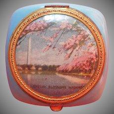 Vintage Compact Washington D.C. Cherry Blossoms Pink Blue Gold