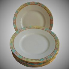 Hand Painted Small Chin Plates Vintage 1920s Turquoise Pink Yellow
