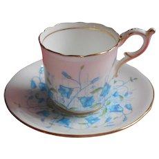 Coalport Demitasse Cup Saucer Turquoise Blue Hand Painted Bone China