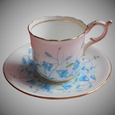 Coalport Demitasse Cup Saucer Turquoise Blue Hand Painted Bone China