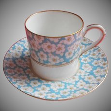 Royal Worcester Demitasse Cup Saucer Vintage Enameled Turquoise Bone China