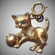 Charm Cat Kitten Ball Vintage Monet Green Rhinestone Eyes