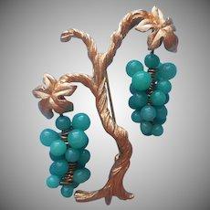 Vintage Pin Figural Grapes Vine Green Peking Glass Vineyard