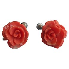 Celluloid Roses Earrings Vintage Coral Color Plastic Screw Back