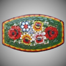 Italy Mosaic Pin Vintage Glass Green Red Yellow