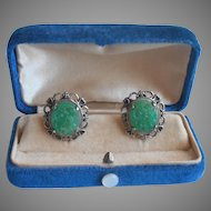 Faux Carved Jade Glass Vintage Earrings Screw Back