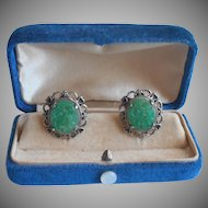 Faux Carved Jade Glass Vintage Earrings Screw Back