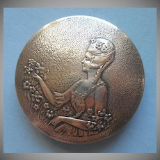 ca 1920 Compact French Court Lady Nickel Silver Vintage Norida