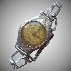 1920s 14K White Gold Ladies Watch Vintage Belais Case Paskar