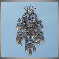 Norwegian Wedding Pin Solje Vintage 830 Silver Filigree  Dangles