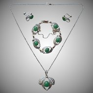 Aventurine Sterling Silver Vintage Bracelet Necklace Earrings Set