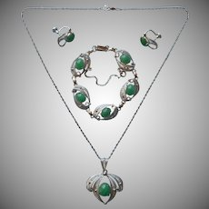 Aventurine Sterling Silver Vintage Bracelet Necklace Earrings Set