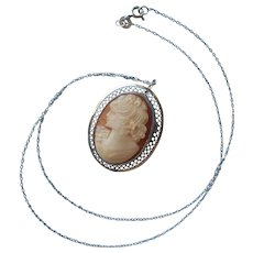 Cameo Sterling Silver Necklace Pin On Chain Vintage Beau