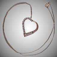 Vermeil Sterling Silver CZ Heart Necklace Vintage Early 1990s