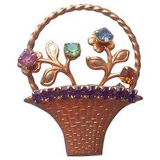 Flower Basket Pin Vintage Colored Stones Victorian Revival Figural