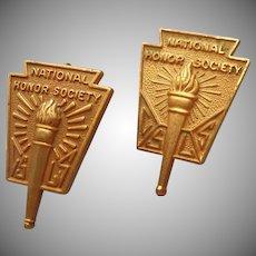 National Honor Society Gold Filled Pins Pin Vintage Pair