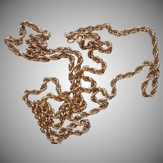 Gold Filled Chain Necklace Rope Twist 30.25 Inches Long