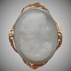 White Glass Cameo Antique Pin Clambroth