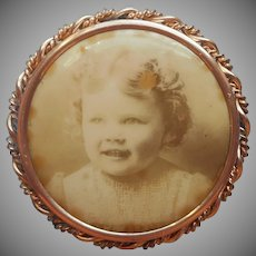 Antique Photo Pin Photograph Frame Sweet Toddler Girl