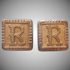 Monogram R Cuff Buttons Antique Cufflinks Victorian